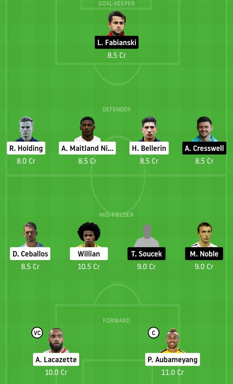 ARS vs WHU Dream11 Team - Experts Prime Team