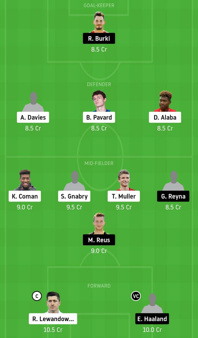 BAY vs DOR Dream11 Team - Experts Prime Team