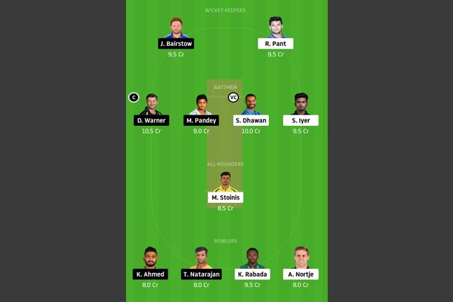 DC vs SRH Dream11 Team - Experts Prime Team