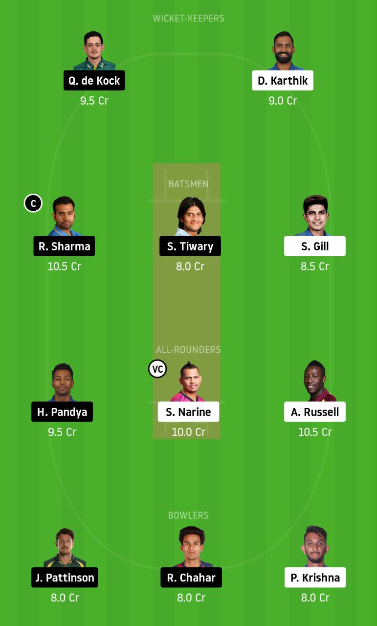 KOL vs MI dream11 Team - 5th IPL dream11 Team