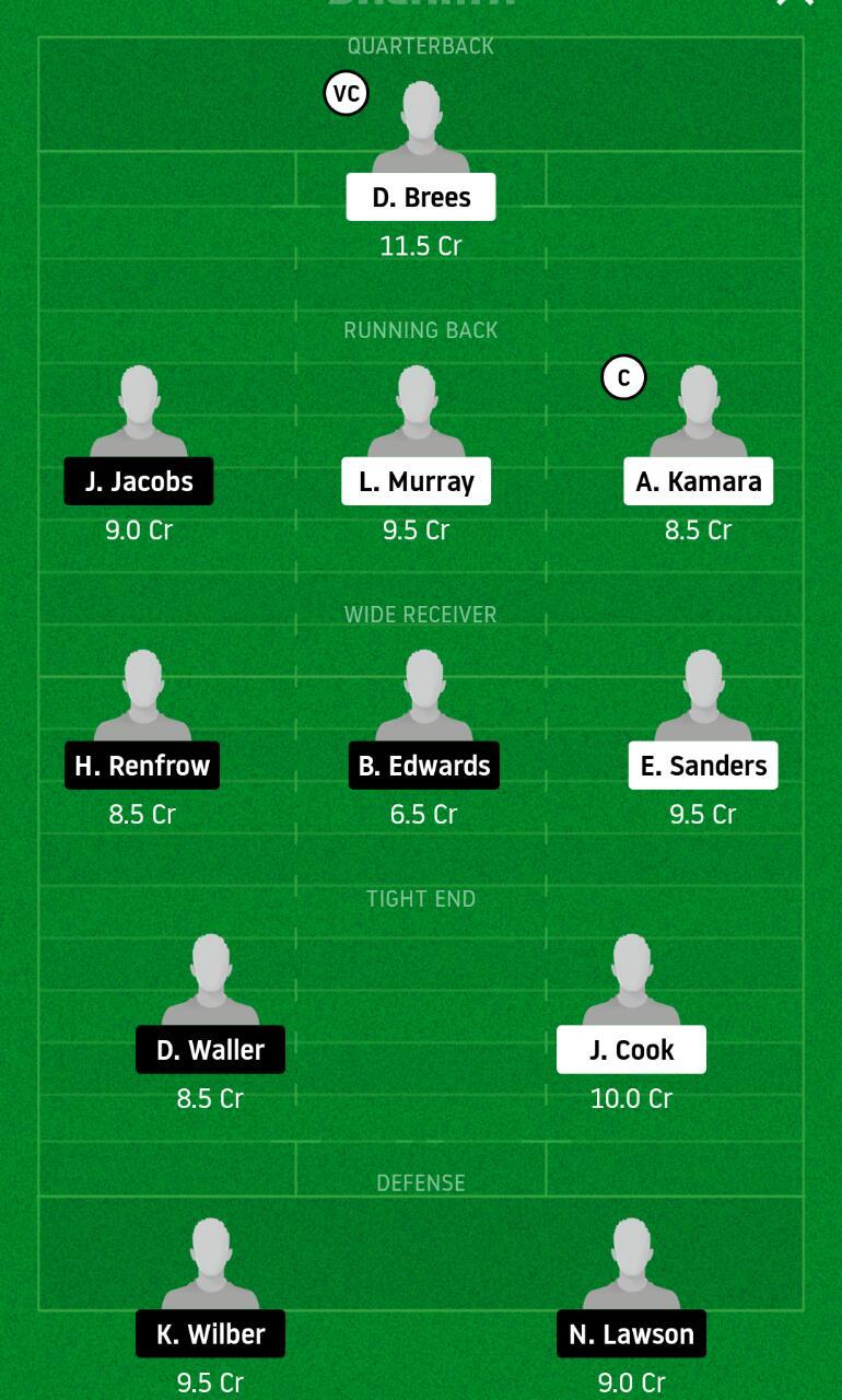 NOS vs LVR Dream11 Team - NFL - Experts Prime Team