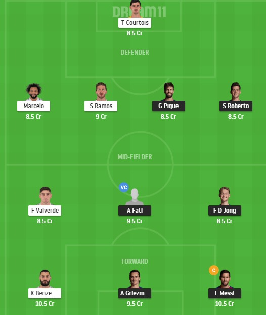 BAR vs RM Dream11 Team - Experts Prime Team