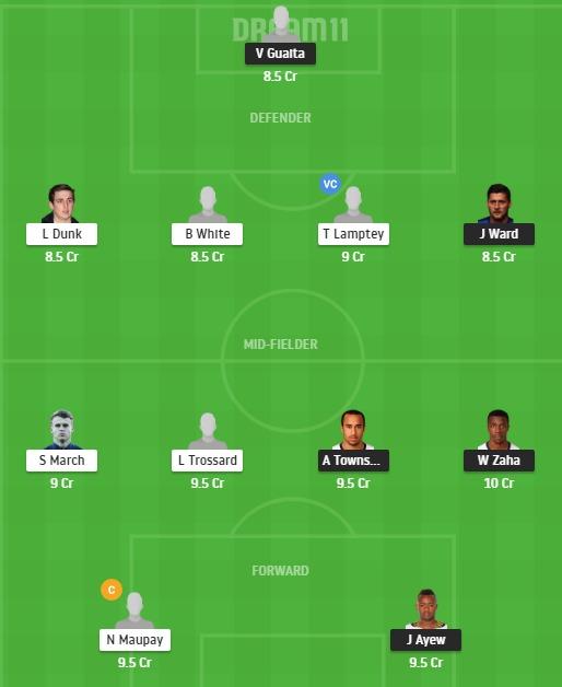 CRY vs BHA Dream11 Team - Experts Prime Team