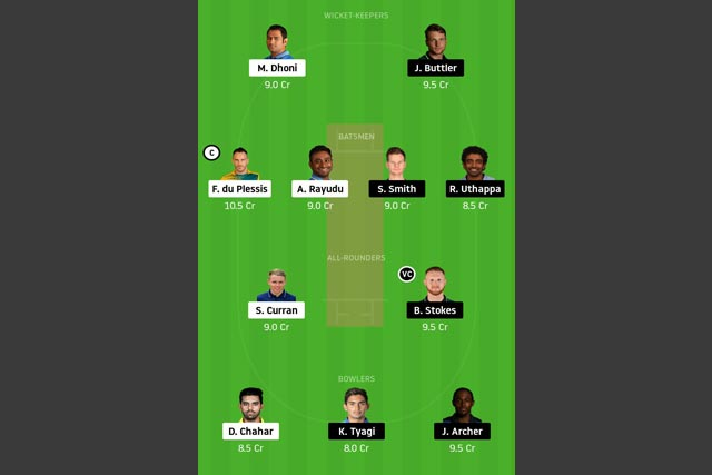 CSK vs RR Dream11 Team - Experts Prime Team