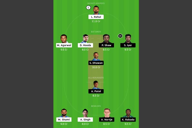 KXIP vs DC Dream11 Team - Experts Prime Team
