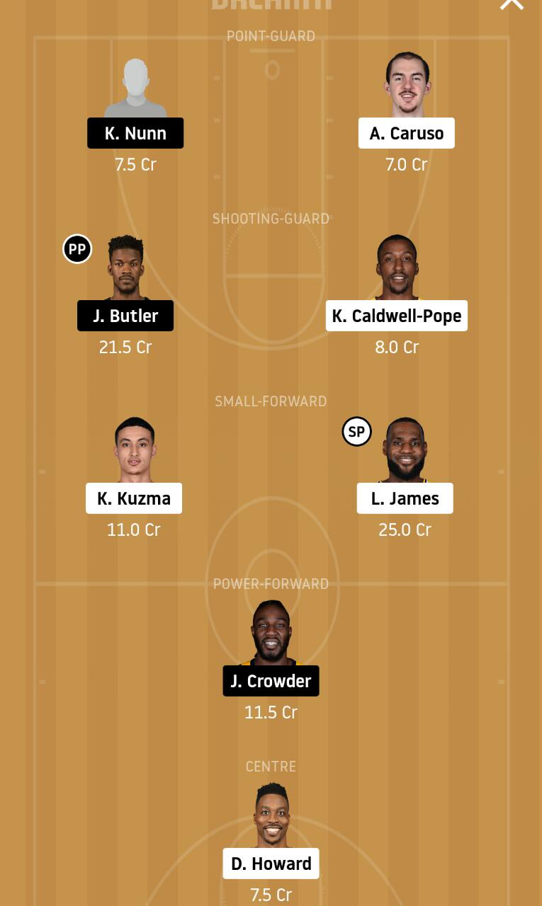 LAL vs MIA Dream11 Team - Experts Prime Team