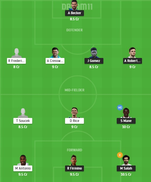 LIV vs WHU Dream11 Team - Experts Prime Team