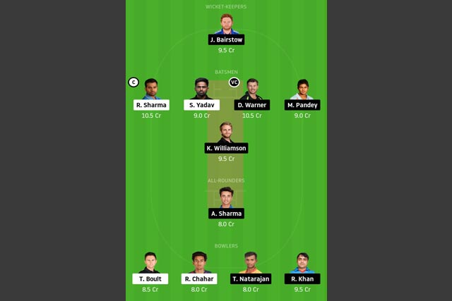 MI vs SRH Dream11 Team - Experts Prime Team