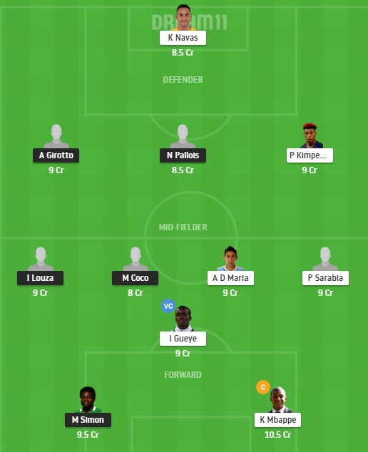 NAN vs PSG Dream11 Team - Experts Prime Team