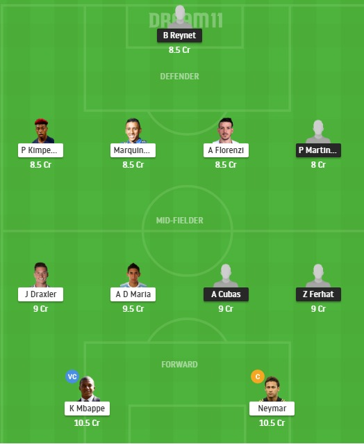 NIM vs PSG Dream11 Team - Experts Prime Team