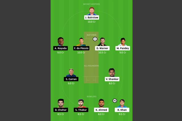 SRH vs CSK Dream11 Team - Experts Prime Team