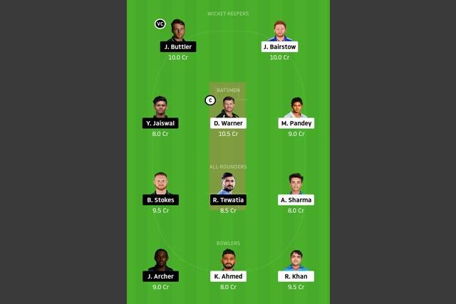 SRH vs RR Dream11 Team - Experts Prime Team