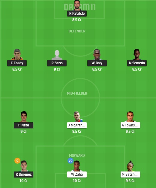 WOL vs CRY Dream11 Team - Experts Prime Team