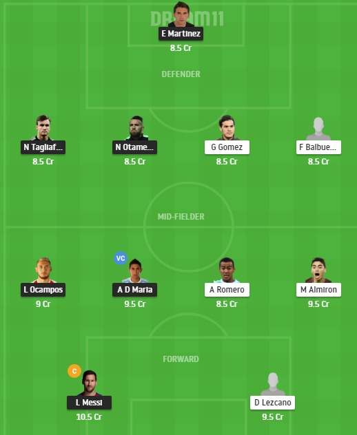 ARG vs PAR Dream11 Team - Experts Prime Team