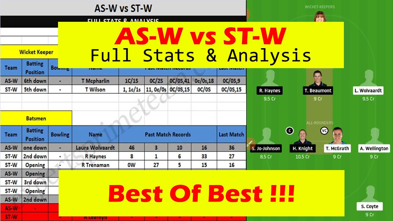 AS-W vs ST-W Dream11 players stats & Analysis AS-W vs ST-W Dream11 Team AS-W vs ST-W Experts Prime Team
