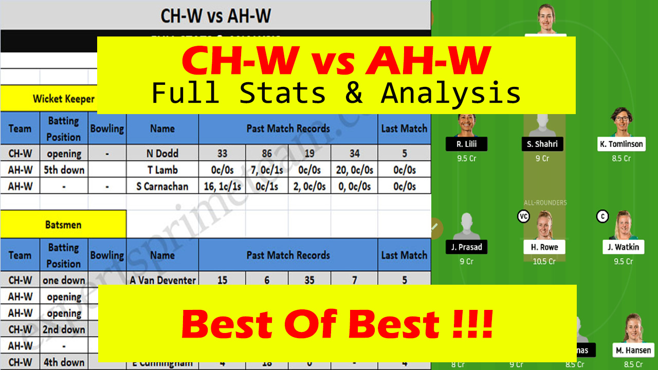 CH-W vs AH-W Dream11 players stats & Analysis CH-W vs AH-W Dream11 Team CH-W vs AH-W Experts Prime Team