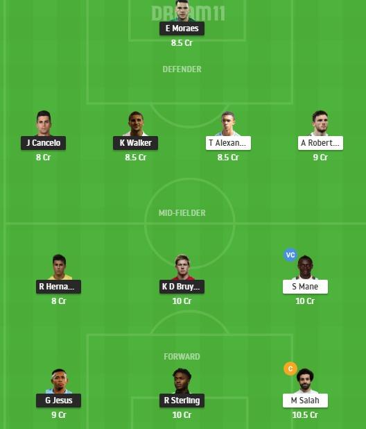 MCI vs LIV Dream11 Team - Experts Prime Team