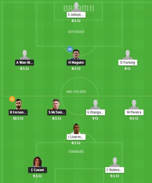 MUN vs WBA Dream11 Team - Experts Prime Team