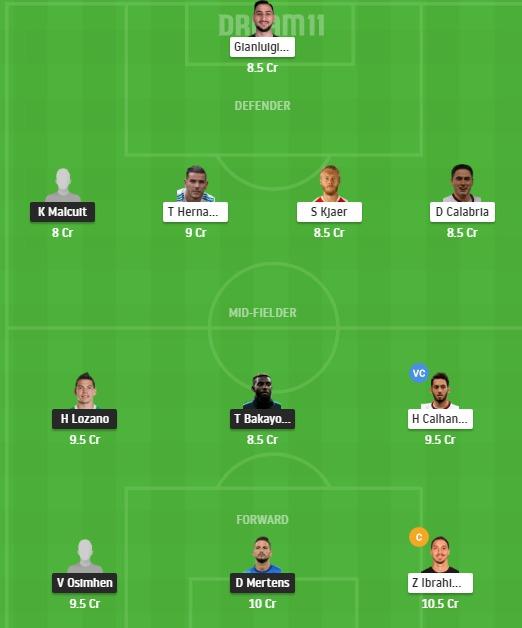 NAP vs MIL Dream11 Team - Experts Prime Team
