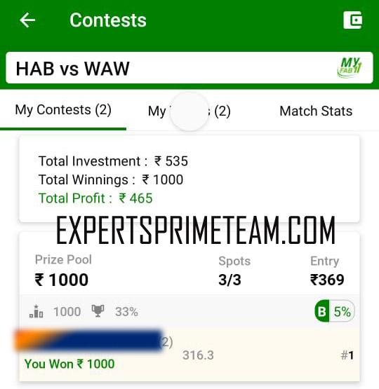 HAB-VS-WAW-Dream11-Results-