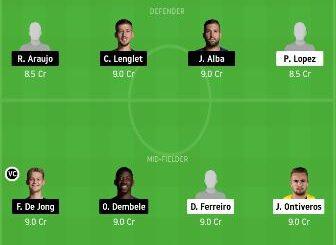 HUE vs BAR dream11 team prediction