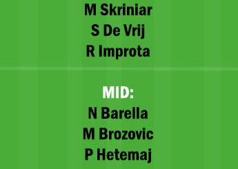 INT vs BNV Dream11 Team fantasy Prediction Serie A