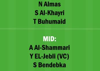 ALBT vs AFF Dream11 Team fantasy Prediction Saudi Arabian League