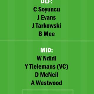 BUR vs LEI Dream11 Team fantasy Prediction Premier League