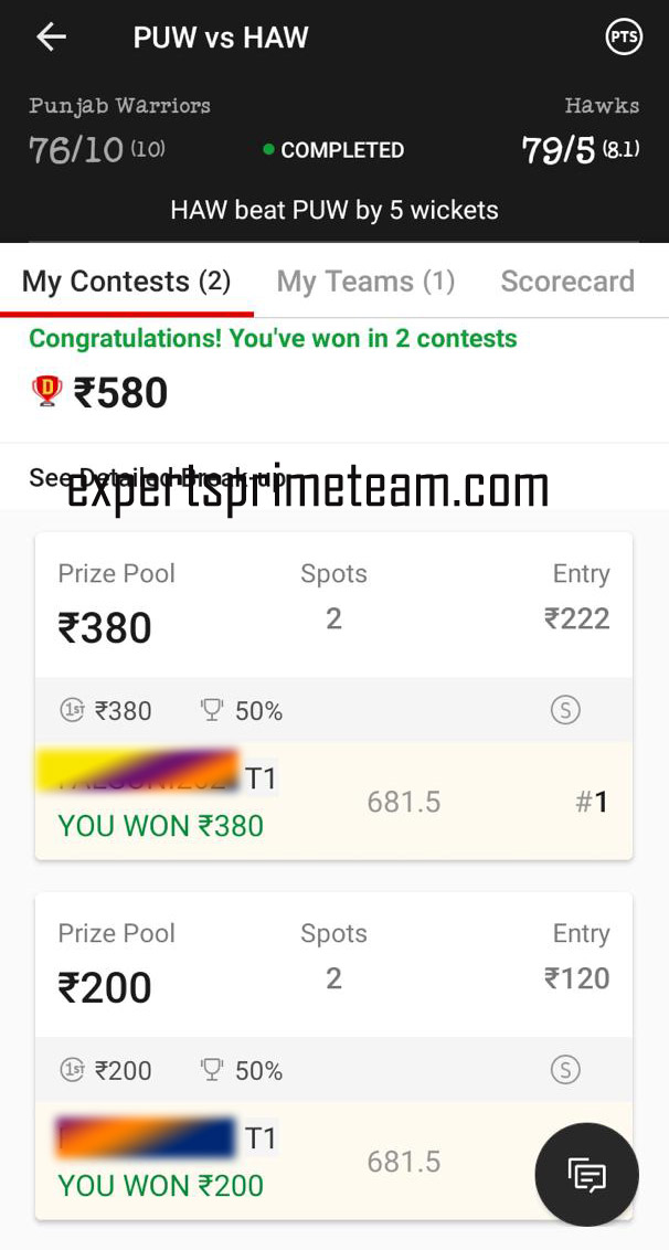 PUW-VS-HAW-Dream11-Results-