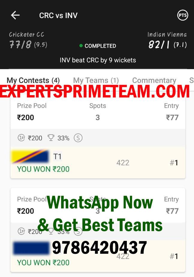 CRC-VS-INV-Dream11-Results-