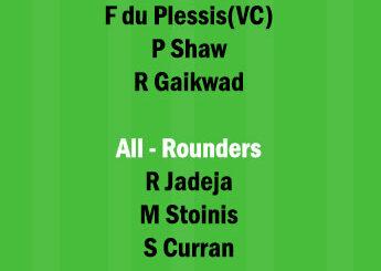 CSK vs DC 2nd Match Dream11 Team fantasy Prediction IPL 2021
