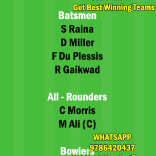 CSK vs RR 12th Match Dream11 Team fantasy Prediction IPL 2021