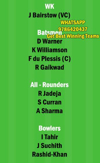 CSK vs SRH 23rd Match Dream11 Team fantasy Prediction IPL 2021