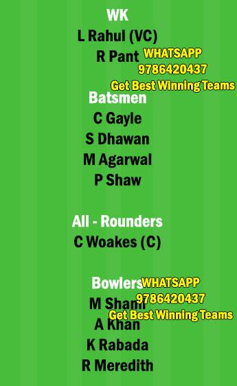 DC vs PBKS 11th Match Dream11 Team fantasy Prediction IPL 2021