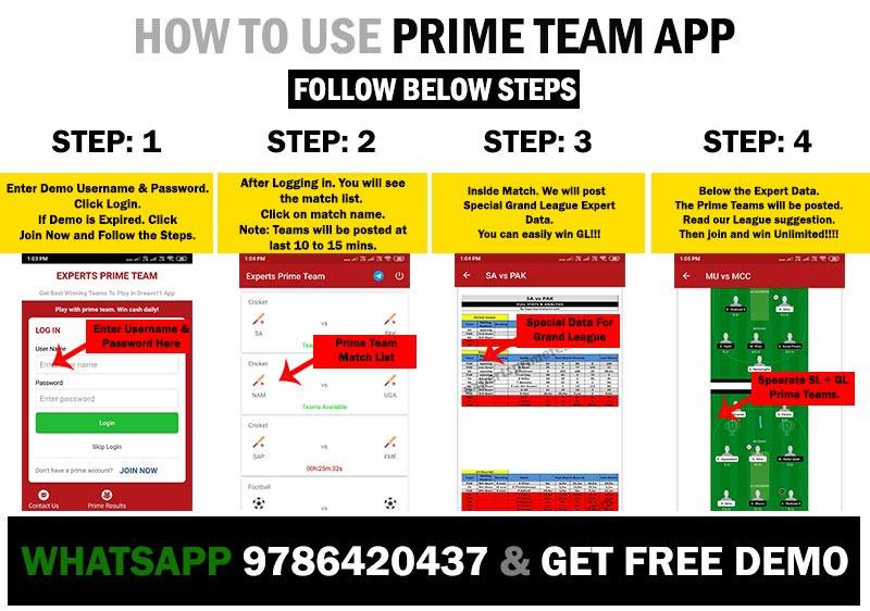 Experts Prime Team App Demo For Dream11 team prediction