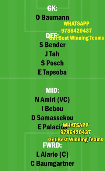 HOF vs LEV Dream11 Team fantasy Prediction Bundesliga