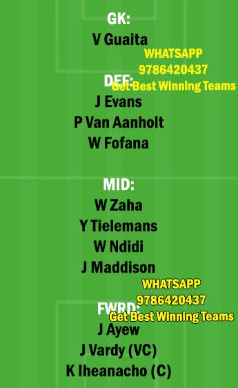 LEI vs CRY Dream11 Team fantasy Prediction Premier League