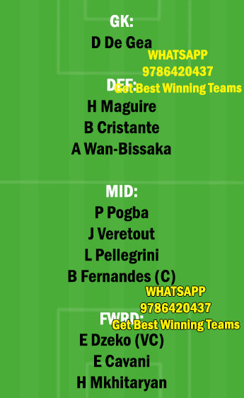 MUN vs ROM Dream11 Team fantasy Prediction Europa League