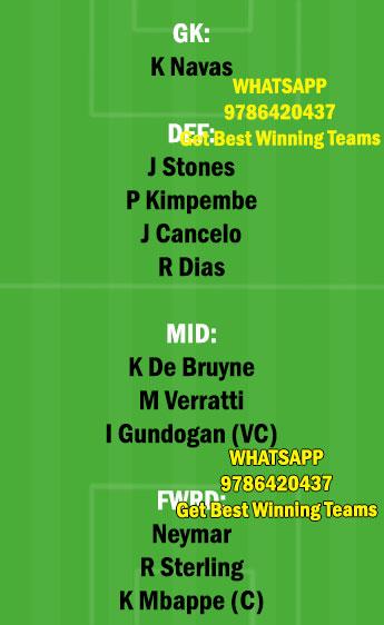 PSG vs MCI Dream11 Team fantasy Prediction Champions League