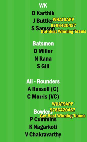 RR vs KOL 18th Match Dream11 Team fantasy Prediction IPL 2021