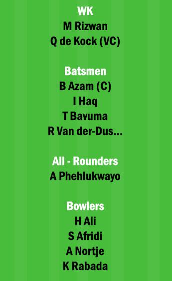 SA vs PAK 1st ODI Match Dream11 Team