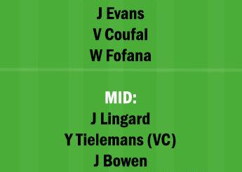 WHU vs LEI Dream11 Team fantasy Prediction Premier League
