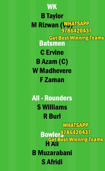ZIM vs PAK 1st T20 Match Dream11 Team fantasy Prediction