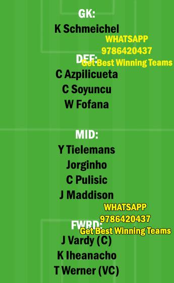 CHE vs LEI Dream11 Team fantasy Prediction Premier League