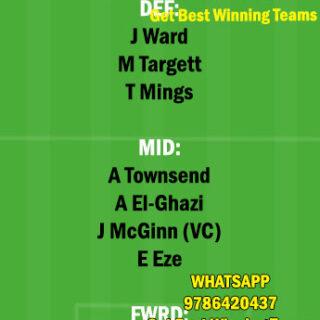 CRY vs AVL Dream11 Team fantasy Prediction Premier League