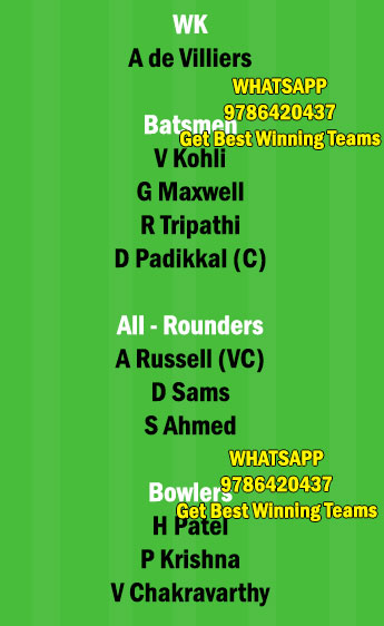KOL vs BLR 30th Match Dream11 Team fantasy Prediction IPL 2021