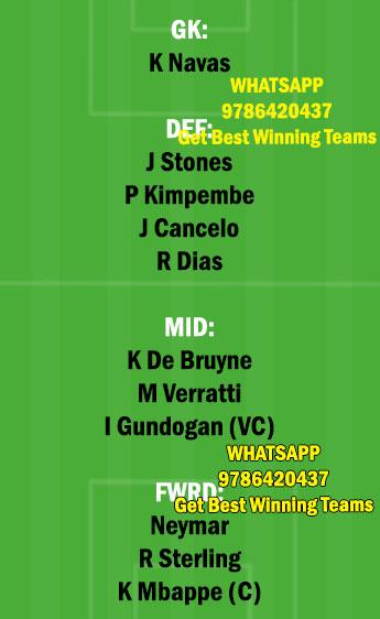 MCI vs PSG Dream11 Team fantasy Prediction Champions League