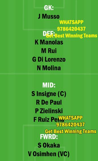 NAP vs UDI Dream11 Team fantasy Prediction Serie A