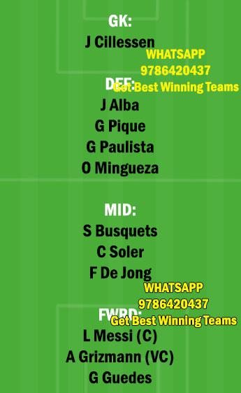 VAL vs BAR Dream11 Team fantasy Prediction LaLiga Santander