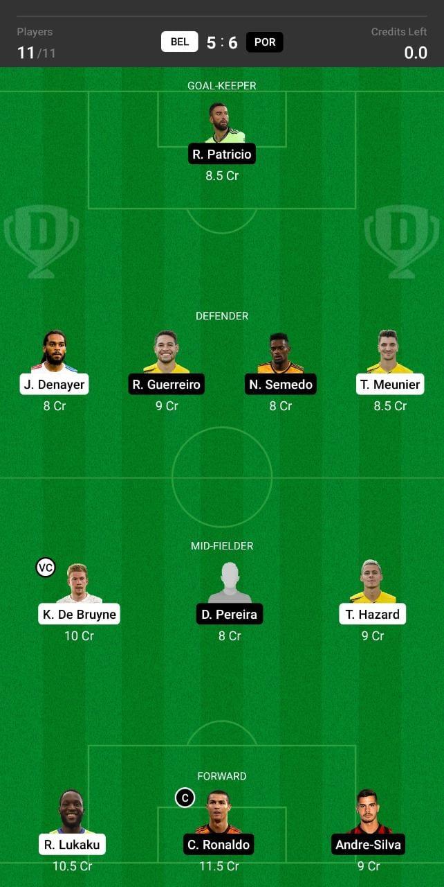 BEL vs POR Dream11 Team fantasy Prediction Euro